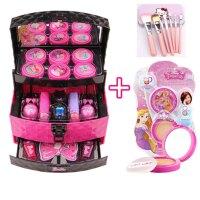 儿童化妆品公主彩妆盒手提箱玩具女孩小孩娃娃指甲油套装 芭比化妆手提箱+粉饼 送化妆刷套装