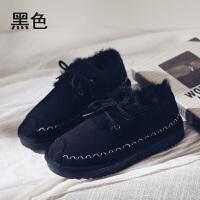 网红短靴女2018新款冬季加绒雪地靴女短筒韩版百搭棉鞋潮 黑色 Q2-5501黑色