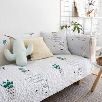 北欧棉布艺沙发垫防滑坐垫现代三人沙发盖巾定制k 仙人掌