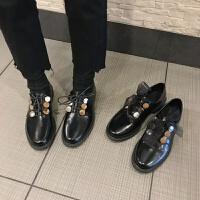 英伦风小皮鞋女冬2018新款韩版百搭粗跟学院风复古网红低跟单鞋女