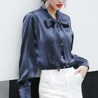 2019初秋新款韩版蓝色长袖衬衣设计感上衣灯笼袖蝴蝶结系带衬衫女