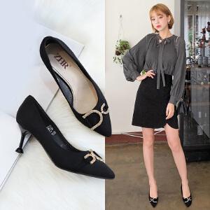 ZHR2019春季新款韩版高跟鞋女细跟单鞋尖头浅口猫跟鞋百搭女鞋子