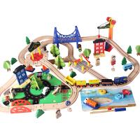 儿童托�R斯小火车轨道玩具车88电动车汽车滑道过山车男孩木质积木