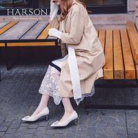【 限时4折】哈森2019秋季新款仙女风毛毛百搭细高跟鞋 时尚婚鞋宴会鞋HL91427