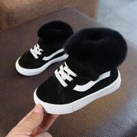 毛儿童高帮板鞋加绒休闲棉鞋真皮女宝宝短靴男小童学步鞋保暖