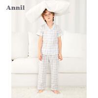 【2件4折价:147.6】安奈儿童装男童夏季套装2021新款格子男孩睡衣中大童千鸟格家居服