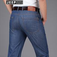 JEEP SPIRIT吉普男装牛仔裤商务休闲春夏薄款休闲裤男士直筒弹力牛仔长裤