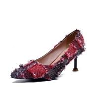 韩版拼色细跟仿皮透气高跟鞋 流苏浅口套鞋 增高耐磨橡胶棉布单鞋