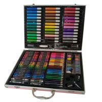 150件皮革铝盒儿童水彩笔绘画套装 小学生美术画画笔 幼儿园礼物 150件皮革铝盒套装
