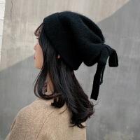 帽子女秋冬季韩版潮毛线帽蝴蝶结古风汉风保暖针织网红款冬天