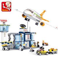 航天飞机客机模型拼装积木机场益智儿童玩具男孩