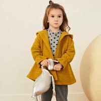 【2件2.5折:83元】马拉丁童装女小童风衣秋装新款时尚撞色拼接中长款休闲外套