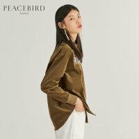 棕色灯芯绒衬衫女春季2019新款刺绣复古chic上衣港味长袖女薄外套