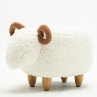 创意小羊鞋凳穿鞋凳家用换鞋凳储物凳试鞋凳脚凳小沙发凳现代简约 小白羊 拆洗款
