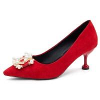 婚鞋女细跟中跟绒面新娘鞋 大红色珍珠水钻单鞋尖头高跟鞋女鞋 红色