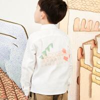 【1件秒杀价:148】马拉丁童装男童衬衫春装2020年新款洋气后背图案白色打底衬衫