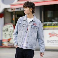 森马旗下潮牌GLEMALL 牛仔外套2019秋季男简约复古印花夹克文艺日系