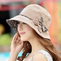 遮阳帽子女夏天太阳帽可折叠百搭潮渔夫帽盆帽凉帽防晒帽