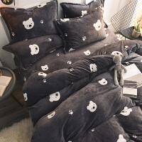 加厚保暖双面珊瑚绒四件套法兰绒床单床笠床上用品冬季法兰绒被套k 深灰色 小熊