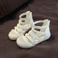 凉鞋女童高帮运动鞋镂空白色跑步鞋高筒靴夏季休闲鞋