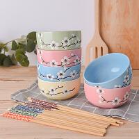 日式餐具 碗家用陶瓷碗单个组合吃饭碗筷套装情侣儿童可爱小汤碗