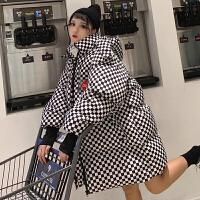 女冬季2019新款韩版格子加厚面包服中长款宽松棉衣外套潮 均码