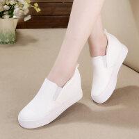 春新款内增高女单鞋高跟低帮韩版厚底休闲鞋一脚蹬套脚小白鞋