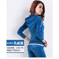 女款新款韩版休闲运动套装天鹅绒运动套装女跑步两件套大码运动服卫衣