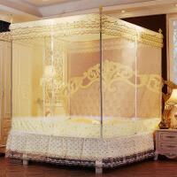 坐床式拉链蚊帐1.8m床双人家用三开门加密1.5m床加密方顶公主风 黄色 坐床拉链式