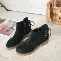 小短靴女2018新款秋季韩版方跟百搭ins马丁靴女短筒学生瘦瘦靴潮