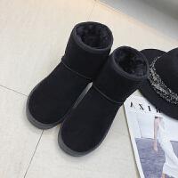 雪地靴女中筒2018冬新款韩版平底百搭加绒加厚学生短筒磨砂靴子潮