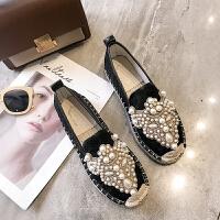 2019春季新款韩版平底百搭学生单鞋女懒人一脚蹬ins超火的鞋子潮 黑色 单鞋