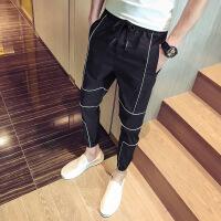)裤子男夏季网红ins潮牌九分青春休闲裤直筒裤网红人抖音 黑色