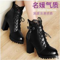 百年纪念女士马丁靴 新品高跟短靴粗跟短筒蕾丝水钻女靴子1130