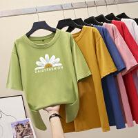 韩国2020中长款短袖t恤女夏季新款小雏菊宽松纯棉圆领半袖上衣ins