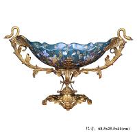 欧式果盘三件套客厅奢华家居装饰品创意美式茶几纸巾盒烟灰缸摆件