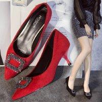 高跟鞋女低跟3cm方扣水钻小清新浅口红色婚鞋尖头工作职业单鞋ol