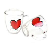 三光云彩SGYC05透明玻璃杯 卡通水杯 茶杯 创意把杯子 大红心水杯两只礼盒装PG440