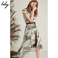 【2件4折到手价:351.6元】 Lily20夏新款不规则几何印花V领收腰短袖连衣裙女119220C7537