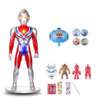 银河奥特曼变身器 超大号奥特曼玩具儿童银河迪加面具变身器机器人模型套装男孩变形 红色 60戴拿+发射 送11