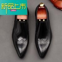 新品上市英伦雕花尖头皮鞋时尚潮男复古真皮男鞋皮鞋春季男鞋子