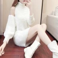 新年特惠2019秋冬新款女装漏肩白色中长高领超火马海毛打底毛衣女宽松 白色