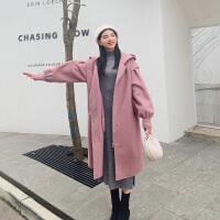 粉色连帽双面羊毛大衣女中长款春装2019新款灯笼袖赫本风毛呢外套