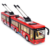 公交车玩具 儿童公交车玩具车公共汽车双层巴士仿真合金开门车模型男孩大巴车 电车巴士【加长 红】