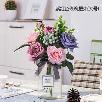北欧小清新绢花假花仿真客厅花瓶装饰品摆件玫瑰餐桌花艺套装摆设