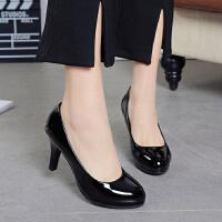 黑色职业高跟鞋防水台大码学生礼仪5-7cm工作鞋女士细跟单鞋皮鞋