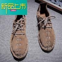 新品上市新品上市真皮反绒皮磨砂皮男士手工缝休闲男鞋系带软底复古牛皮鞋 深棕色