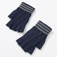 毛线五指手套 半指男冬天学生季针织半截露指手套男冬保暖