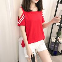 短袖t恤女纯棉V领上衣服女装夏季韩版学生宽松时尚百搭半袖体恤衫