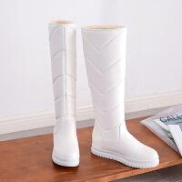白色雪地靴女高筒长靴保暖水滑长筒靴厚底冬季保暖加绒棉鞋